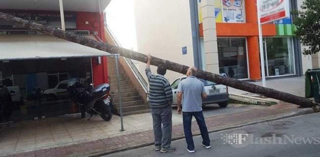 Κολώνα της ΔΕΗ έπεσε πάνω σε μπαλκόνι διαμερίσματος [εικόνες]