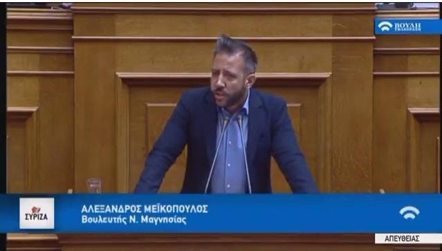 Ομιλία Αλέξανδρου Μεϊκόπουλου στην Ολομέλεια της Βουλής
