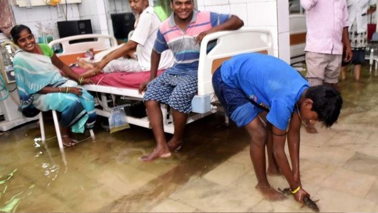 Ινδία: Νοσοκομείο πλημμύρισε λόγω του μουσώνα - Ψάρια κολυμπούν μέσα στους θαλάμους