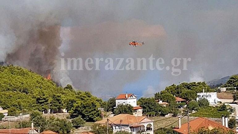 Ζάκυνθος: Σε ύφεση τα πύρινα μέτωπα σε Κοιλιωμένο και Μαχαιράδο