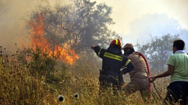 Φωτιά σε δασική έκταση στον Τύρναβο Λάρισας