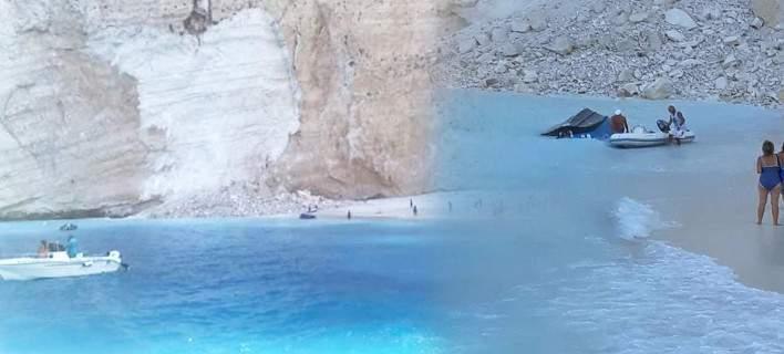 Ζάκυνθος: Επεσε βράχος στο Ναυάγιο. Φόβοι για αγνοούμενους