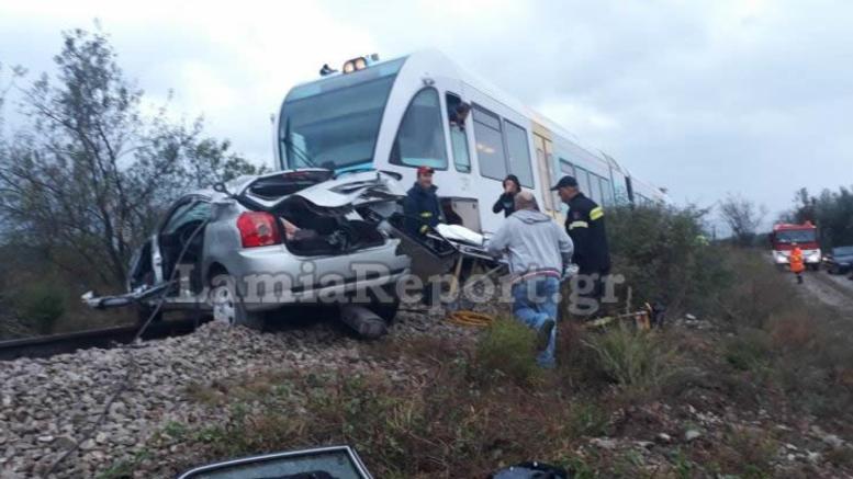Τρένο παρέσυρε Ι.Χ. στη Φθιώτιδα: 1 νεκρή, 2 τραυματίες