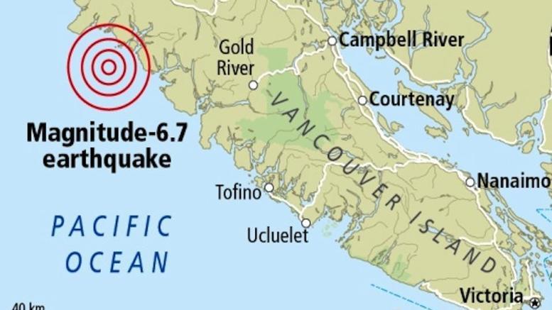 Ισχυρός σεισμός 6,7 Ρίχτερ ανοικτά των ακτών του Καναδά