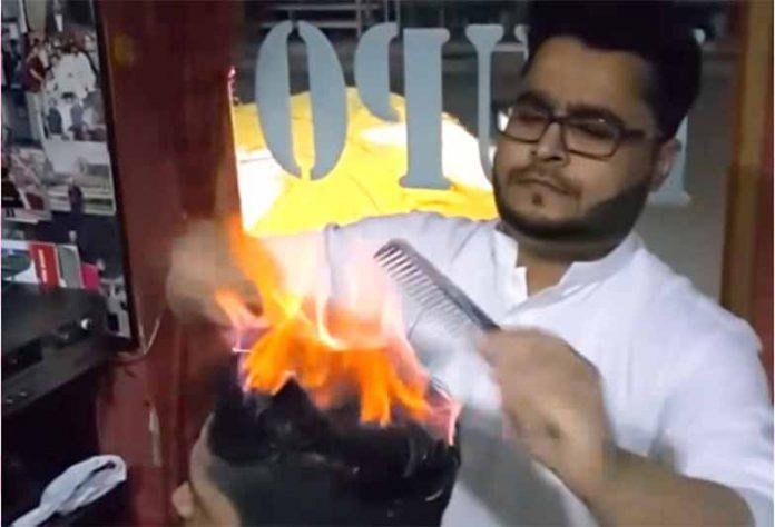 Απίστευτο κούρεμα με Φωτιά (vid)