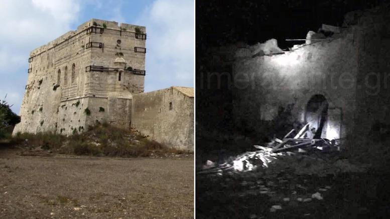 Κατέρρευσε το μοναδικό καστρομονάστηρο του Αγίου Διονυσίου