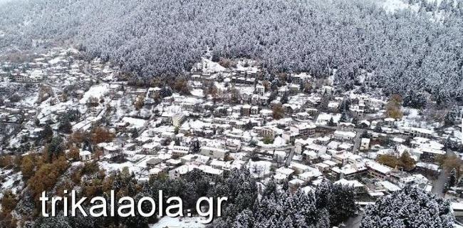 Στα λευκά «ντύθηκαν» οι ορεινές περιοχές των Τρικάλων [εικόνες]