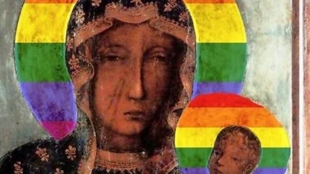 Πολωνή συνελήφθη για αφίσες με την Παναγία να έχει φωτοστέφανο στα χρώματα των gay