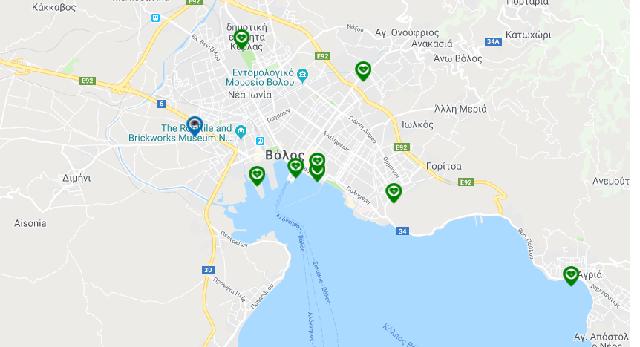Ο χάρτης των απινιδωτών σε Βόλο, Ν. Ιωνία και Αγριά