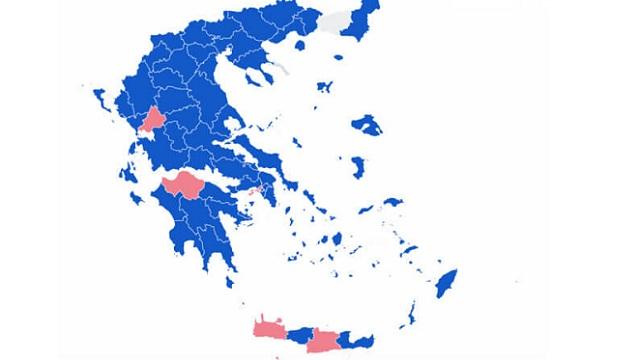 Αποτελέσματα εκλογών –Περιφέρειες: «Γαλάζιες» οι 12 από τις 13 –Θρίλερ στην Πελοπόννησο