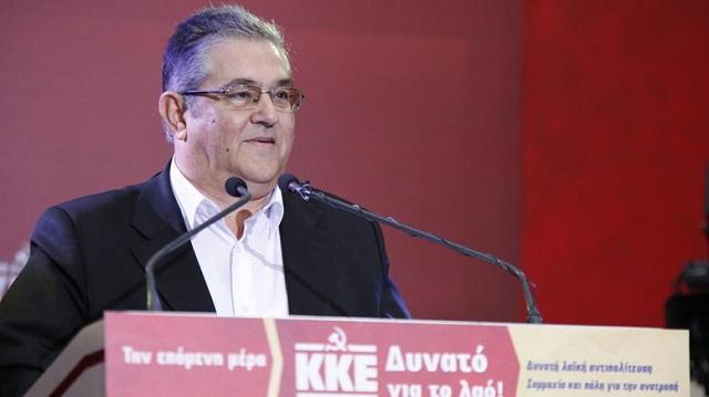 Ο Δ. Κουτσούμπας στην κεντρική προεκλογική συγκέντρωση του ΚΚΕ στη Λάρισα