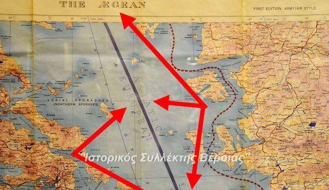 """Όταν οι Βρετανοί """"χώριζαν"""" στη μέση το Αιγαίο το 1943 - Ο χάρτης που αντέγραψε ο Ερντογάν"""