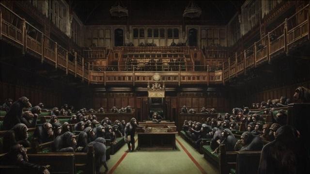 Στο σφυρί το βρετανικό Κοινοβούλιο με τους χιμπατζήδες του Banksy