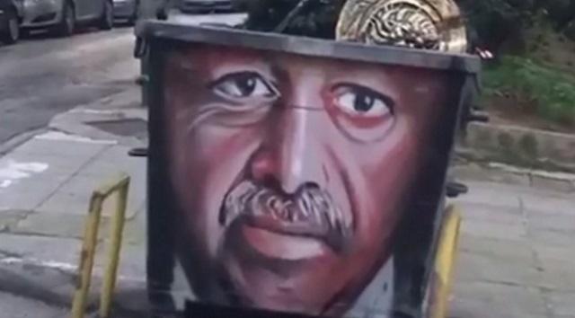 Γκράφιτι Ερντογάν σε κάδο απορριμμάτων στο Παγκράτι [εικόνα]