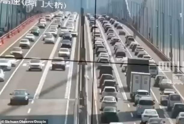 Τεράστια γέφυρα γεμάτη με αυτοκίνητα ταλαντεύεται σαν πουπουλο από τους ανέμους