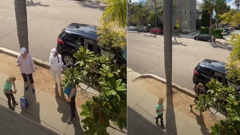 Γυναίκα διώχνει οικογένεια που βρίσκεται έξω από το σπίτι της