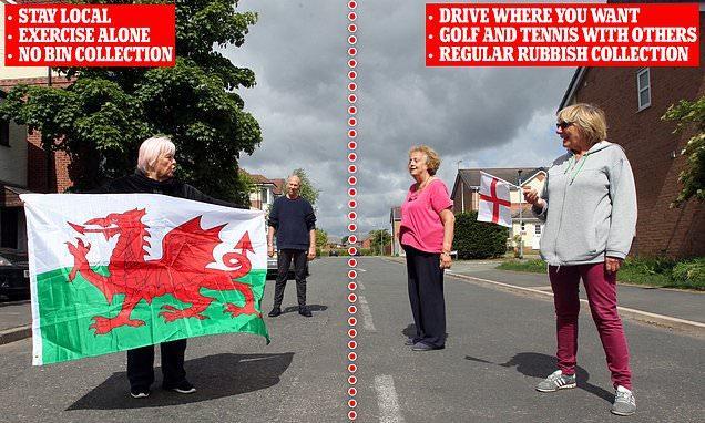 Ένας δρόμος που χωρίζει Αγγλία από Ουαλία, με διαφορετικά μέτρα προφύλαξης στην κάθε πλευρά του