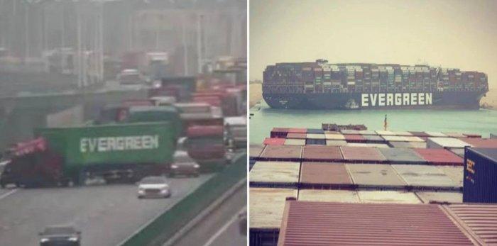 Διώρυγα του Σουέζ : Συνέβη και… στο δρόμο – Φορτηγό με λογότυπο «Evergreen» μπλοκάρει την κυκλοφορία