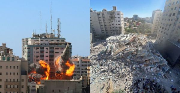 Γάζα: Συγκλονιστικές εικόνες μετά τον βομβαρδισμό έδρας διεθνών ΜΜΕ