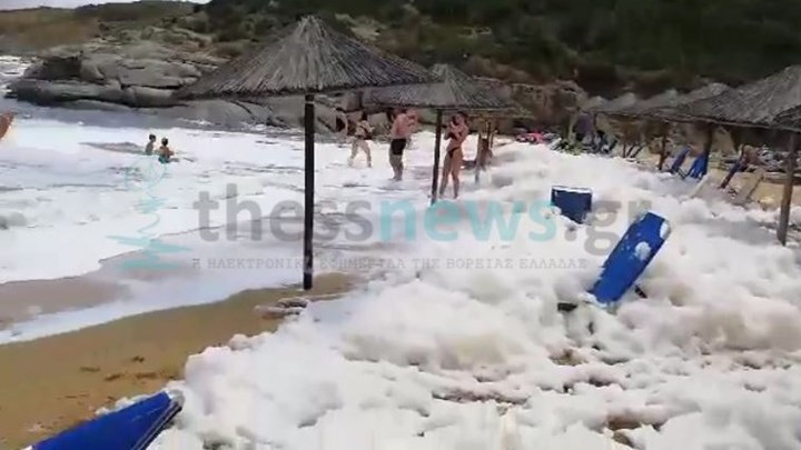 """""""Άφρισε"""" παραλία στη Χαλκιδική - Πού οφείλεται το φαινόμενο"""