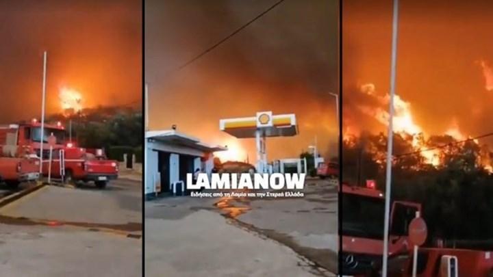 Συγκλονιστικό ΒΙΝΤΕΟ από τη Βόρεια Εύβοια - Οι φλόγες κύκλωσαν βενζινάδικο και έκαψαν σπίτια